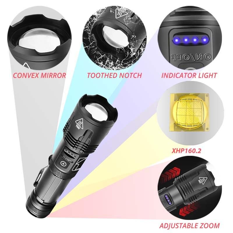 lanterna poderosa xhp1602 com lampada led recarregavel 01