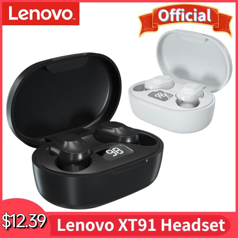 Оригинальные беспроводные наушники Lenovo XT91, TWS наушники с Bluetooth 5,0, игровая гарнитура с ИИ управлением, стерео бас с микрофоном и шумоподавлен...