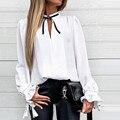 Женская шифоновая блузка с V-образным вырезом, длинным рукавом и оборками