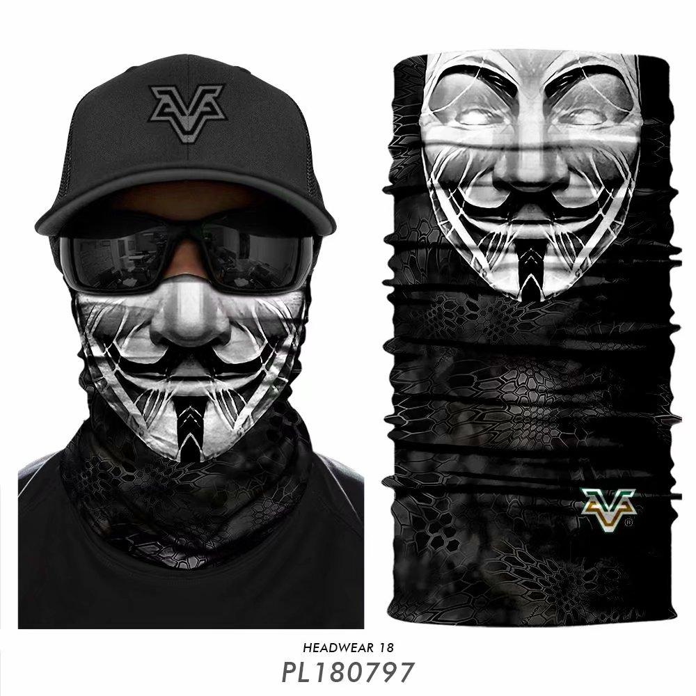 3D Camouflage Headband Braga Cuello Outdoors Neck Buffs Joker Anonymous Seamless Bandana Skull Motorcycle Face Mask Winter Scarf