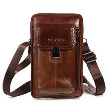цены Men Vintage Leather Shoulder Crossbody Bags Phone Pouch Waist Belt Bag