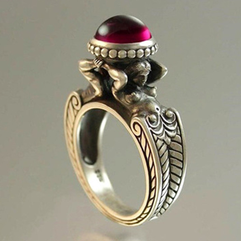New Design Vintage Thai Silver Mermaid Imitation Ruby Rings For Women Filled Promise Wedding Ring Party Gift Fashion Jewelry
