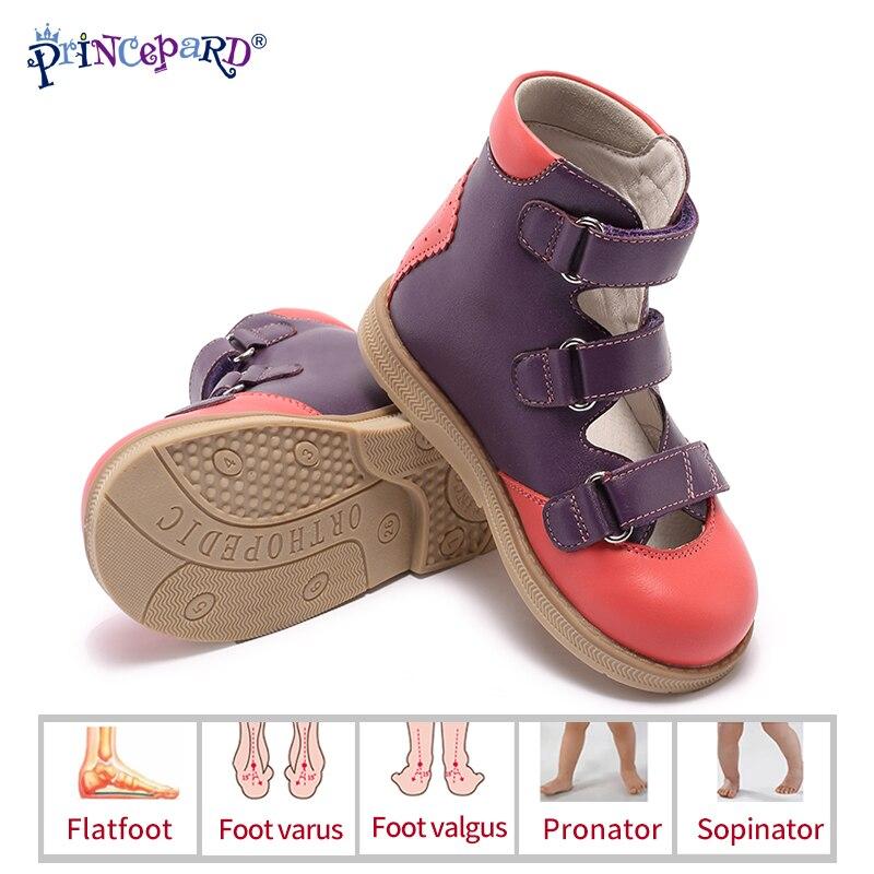 Princepard flambant neuf enfants chaussures d'été crochet boucle fermé orteil enfant en bas âge filles sandales orthopédique sport en cuir véritable bébé filles
