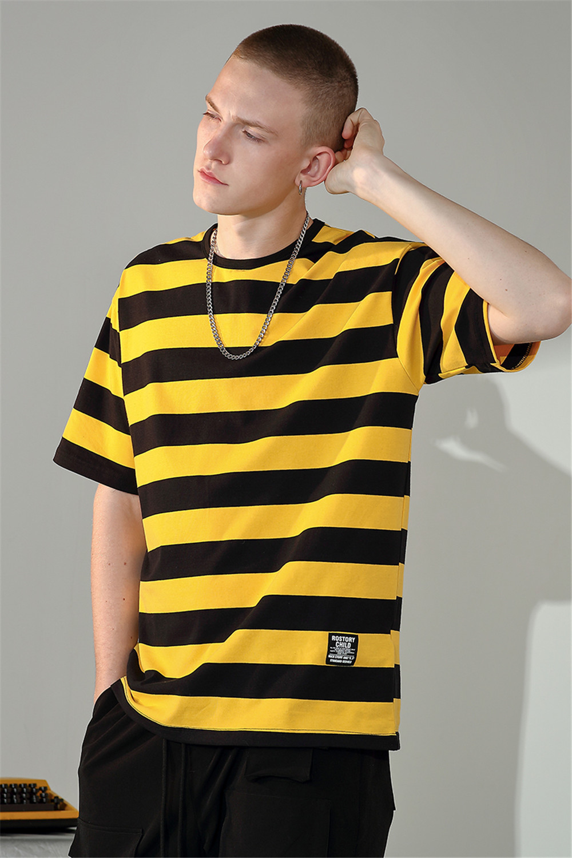 Raibaallu Men shirt Spring Summer T Shirt Loose Striped Short Sleeve Wild Casual Cotton oversize T