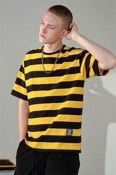Raibaallu koszula męska wiosna letnia koszulka luźne paski z krótkim rękawem swobodna dzikość bawełna T-Shirt w za dużym rozmiarze Top mężczyźni nosić 3 kolory tanie i dobre opinie Pasuje prawda na wymiar weź swój normalny rozmiar Flexible RAMY16A