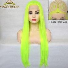 Vogue rainha brilhante amarelo verde sintético t peruca dianteira do laço longa reta natural linha fina para mulher