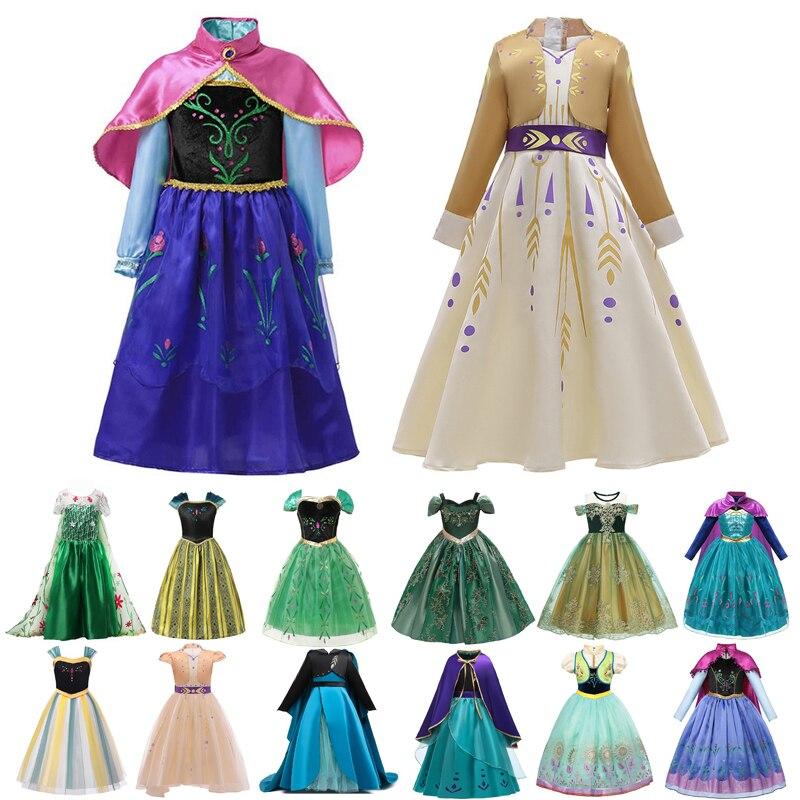 Anna elsa vestidos para meninas halloween carnaval traje de natal crianças princesa roupas neve branco casamento vestido de noite