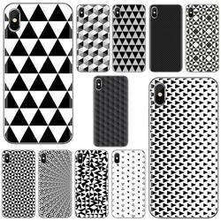 Для Huawei Y6 Y5 2019, для Xiaomi Redmi Note 4 5 6 7 8 Pro Mi A1 A2 A3 6X 5X 7A, дизайнерский мягкий чехол с черными и белыми треугольниками и геометрическим рисунком
