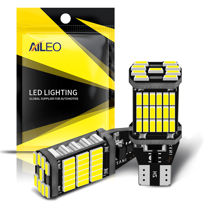 AILEO 2PCS T15 W16W 921 912 T16 902 LED Bulbs High Power 45pcs 4014SMD Super Bright 1200LM Replace For Car Reversing Light White