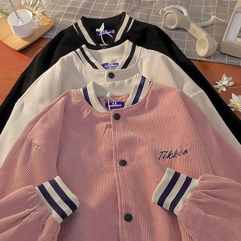 Japan jacket men women 2021 new spring corduroy baseball uniform casual simple Harajuku lovers letter embroidery streetwear coat