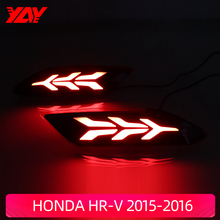 Car Flashing 2Pcs LED Reflector Lamp Rear Fog Lamp Rear Bumper Light Brake Light Rear warning light For Honda HR-V 2015-2016