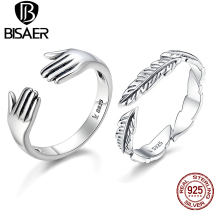 Design New 100% 925 Sterling Silver Ring Give Me A Hug Hand Open Finger Rings for Women Authentic Silver Jewelry Gift Anel Gift homod 2019 new fashion silver tree of life brand finger rings for women luxury ring jewelry anel xmas gift