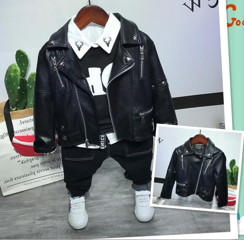 Baby T-Shirt Suits Clothing-Sets Coat Boys Fashion 4pcs Faux-Leather Autumn