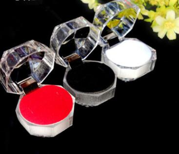 1PC Elegant 3.8*3.8cm Portable Acrylic Transparent Rings Earring Display Box Wedding Jewelry Package Box Wholesale
