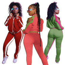 Pants Jogger Women Outfit Matching-Set Two-Piece-Set Striped Casual Zipper Top-Slit Mujor