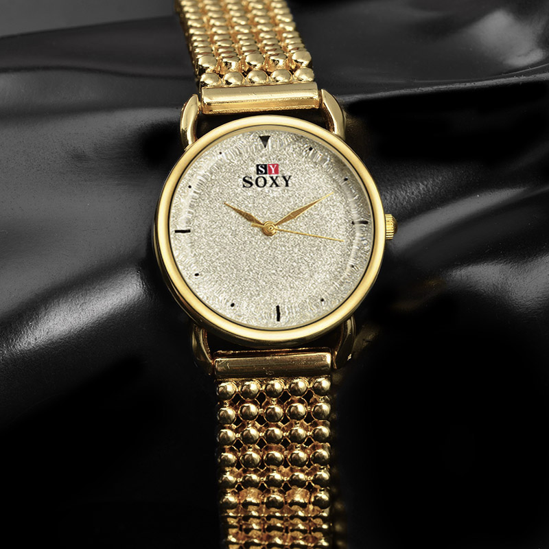 Luxury Brand Lady's Gold Quartz Watch Fashion Crystal Geometry Glass Women Wrist Watches Full Stainless Steel Women's Gift Watch