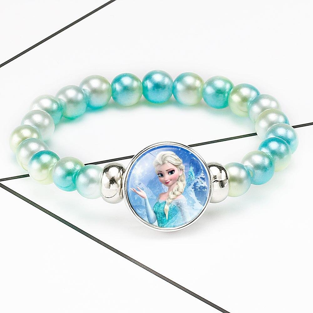 New Accessories Children's Cartoon Frozen 2 elsa Olaf Anna Handmade Beaded Retractable Bracelet baby doll Xmas Gifts for Girls