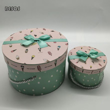 Cute Round Gift Box Ice Cream Covered With Hand Ramie Rope Party Birthday Candy Perfume Lipstick Cardboard Paper Gift Box B285D(China)