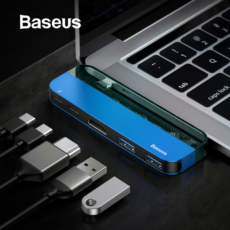 Baseus USB C HUB 3.0 For Macbook Pro Surface HDMI Thunderbolt 3 Power Adapter Multi USB 3.0 USB-C Type C HUB For Huawei Matebook