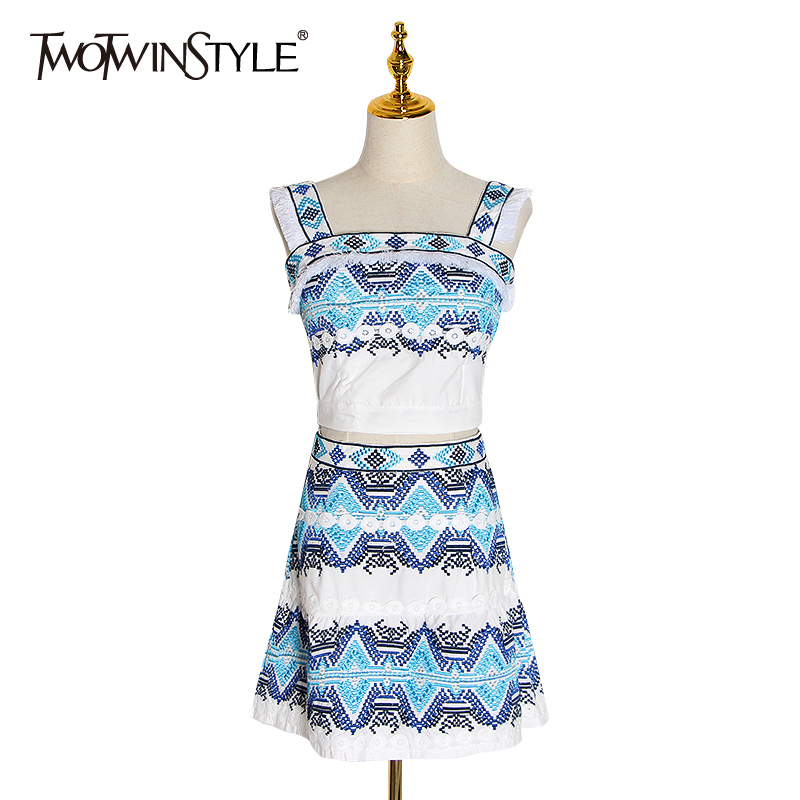 TWOTWINSTYLE Print Embroidery Sexy Women Two Piece Set Off Shoulder Strap Short Tops Slim Mini Skirt Female Suit Summer 2019 New