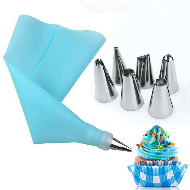 8 PCS/Set Silicone Kitchen Accessories Icing Piping Cream Pastry Bag + 6 Stainless Steel Nozzle Set DIY Cake Decorating Tips Set