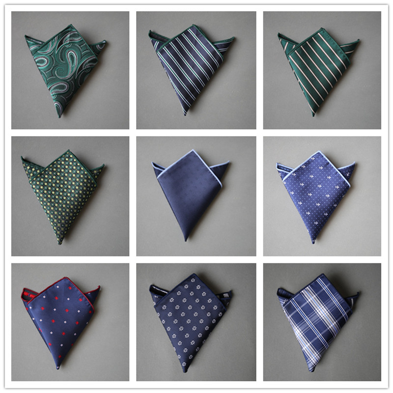 New Men's Pocket Square Men Handkerchief Polyester Silk Printed Hankies Dot Chest Towel Striped Wedding Party Business