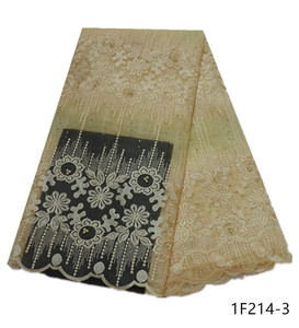 Image 2 - Latest African Voile Lace Fabric Embroidered African Guipure Lace Fabric With Beads 2019 African French Net Mesh Lace 1F214