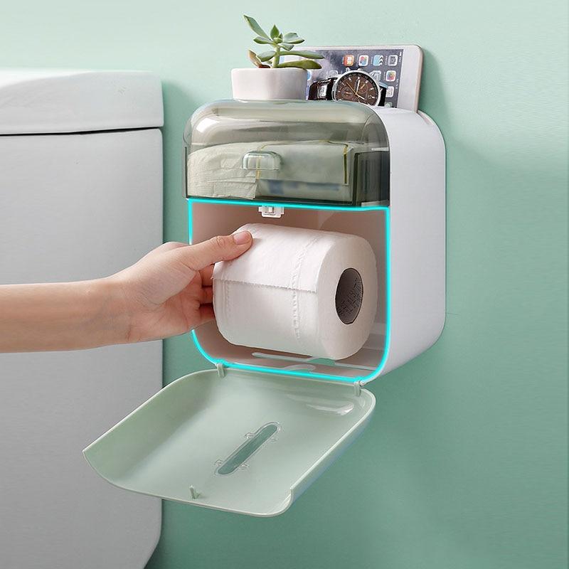 Image 3 - Toilet Paper Holder Rack Wall Mount Toilet Paper Tray Waterproof Tissue Box Roll Paper Tube Bathroom Storage Box OrganizerPaper Holders   -