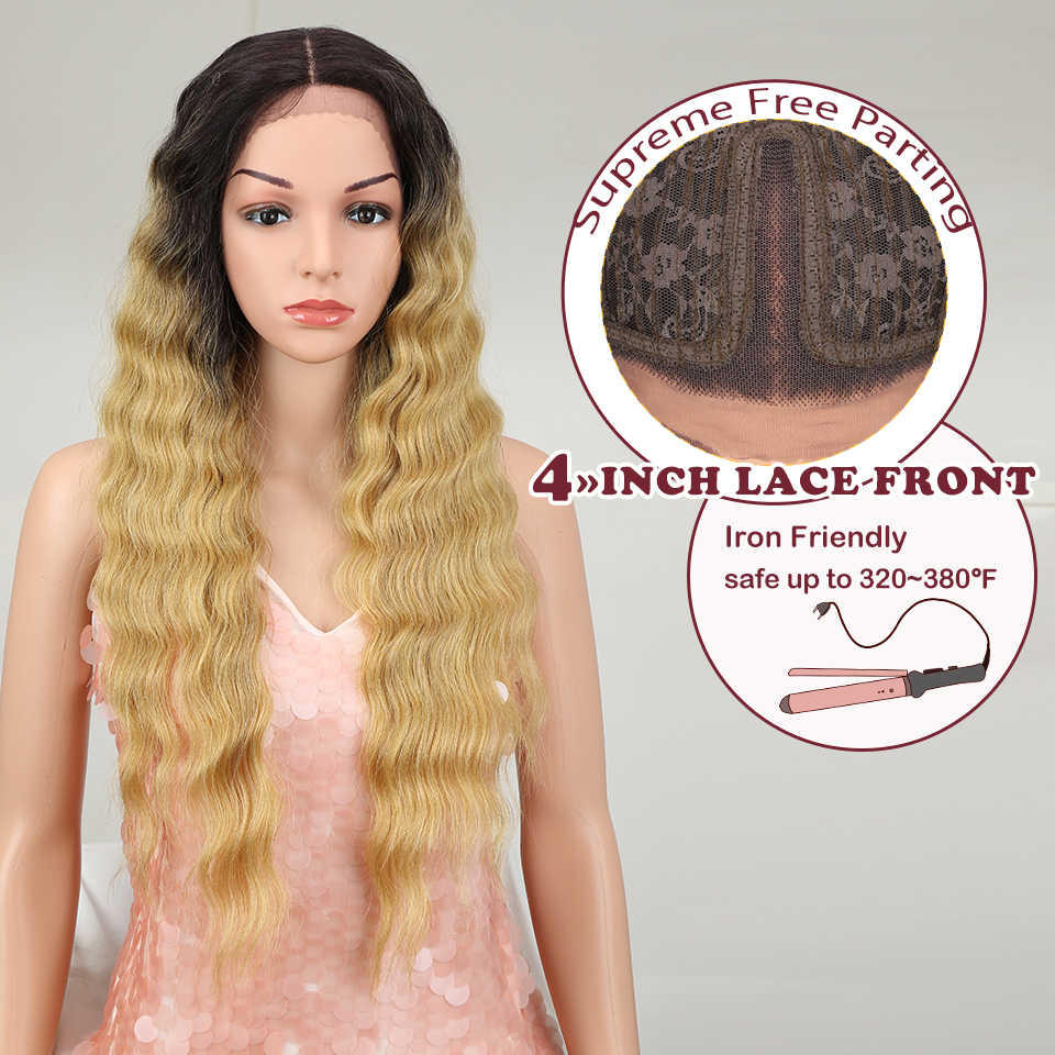 """Magic 28""""Inch Long Wavy Lace Front Wigs For Black Women Middle Part Synthetic Wigs Blonde Ombre Hair Heat Resistant Hair"""