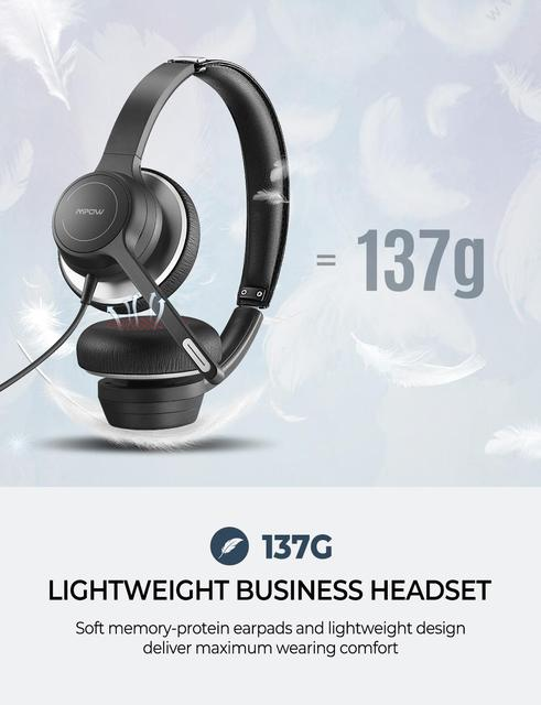 Mpow BH328 Office Headset Lightweight 3.5mm USB Computer Headset Noise Reduction Headphone for Call Center Skype PC Cellphone 3