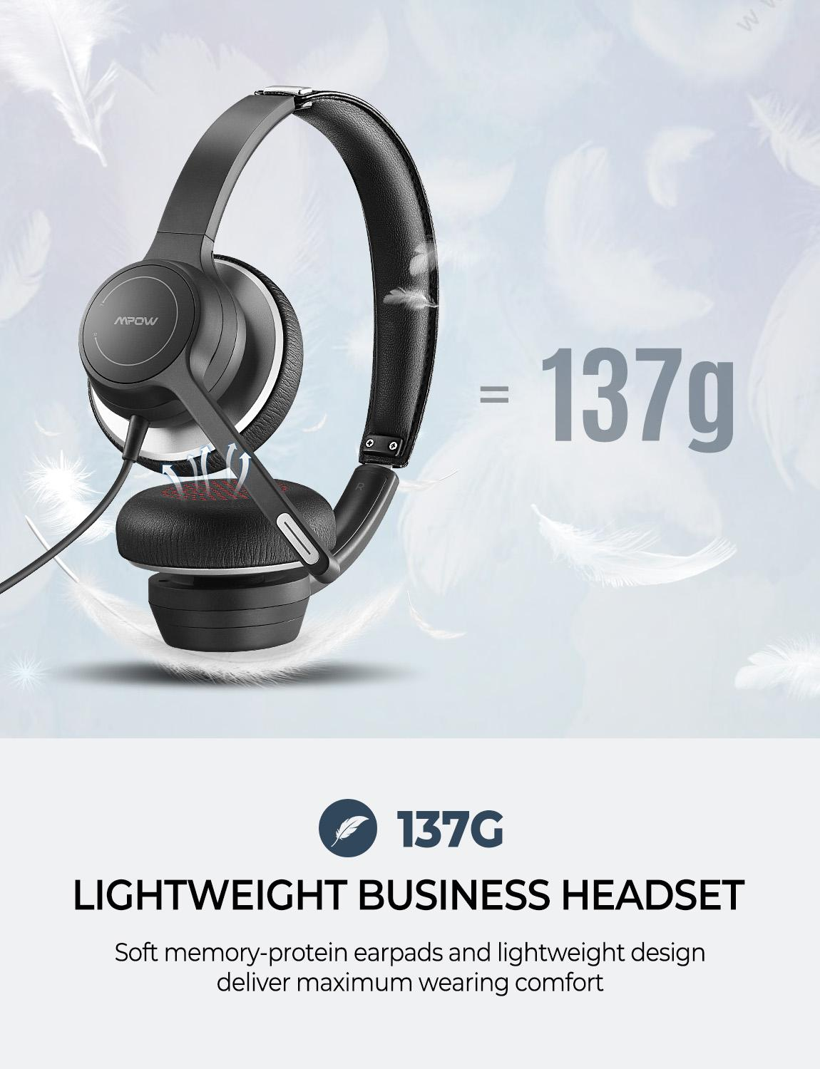 cheapest Mpow BH328 Office Headset Lightweight 3 5mm USB Computer Headset Noise Reduction Headphone for Call Center Skype PC Cellphone