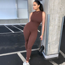 Women Casual Solid Color Bodycon Sleeveless Jumpsuits Wear Skinny 2020 Summer Rompers Womens One Piece Jumpsuit Fashion