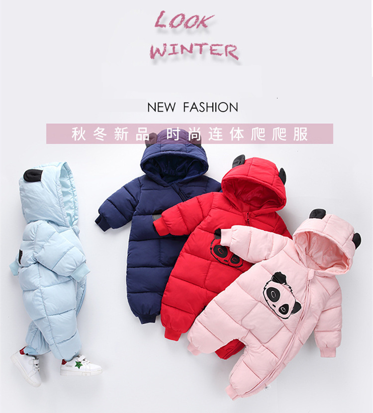 H4885ca1eb08e4ee2bc4c5c7ef63cc28el Baby boy girl Clothes 2019 New born Winter Hooded Rompers Thick Cotton Outfit Newborn Jumpsuit Children Costume toddler romper
