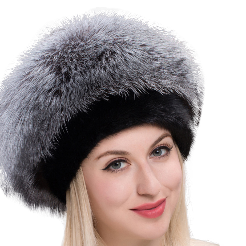 Real Fox Fur Hats For Winter Women Fashionable Thick Warm Russian Beanie Hat Luxury Extra Fluffy Fur Hat With Tails