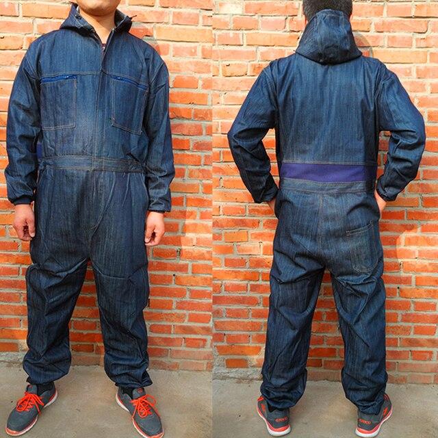Men Cotton Blend Zip-Front Work Protective Coveralls Denim Overalls For Repairman Machine Auto Repair Electric Welding P004 2
