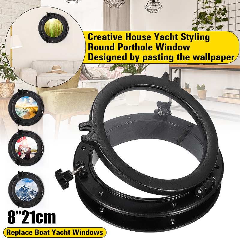 21cm/8inch Black RV Car <font><b>Boat</b></font> Yacht Window Round Shape Opening Portlight <font><b>Hatch</b></font> Touring Car Replacement Porthole Durable 2018 New image