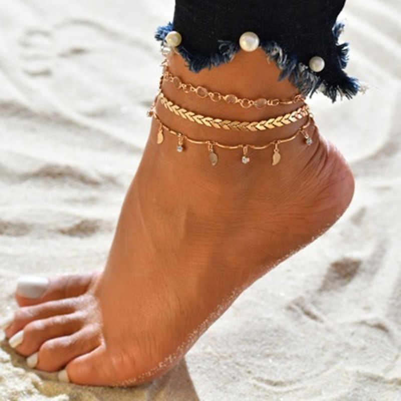 3 ピース/セットアンクレット女性の足のアクセサリー夏のビーチ裸足サンダル足首足に女性のための女性ギフト
