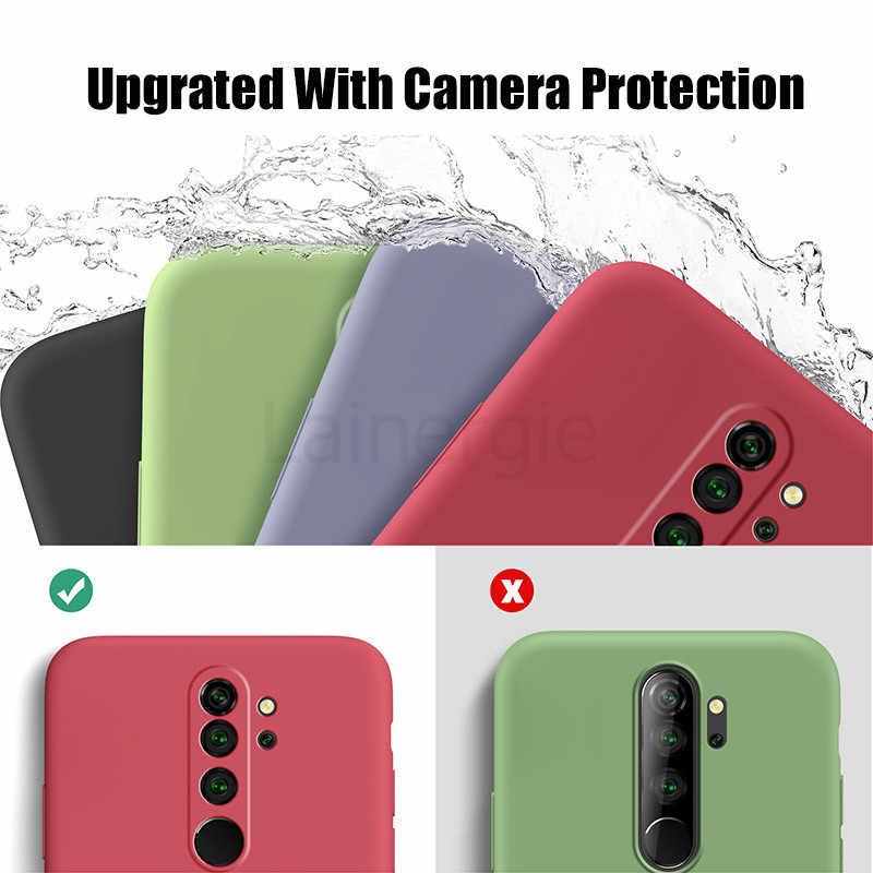 Capa de silicone líquido para xiaomi redmi, capa macia para proteção de câmera, para redmi 9, redmi9 note, 8 pro capa de telefone 7 pro