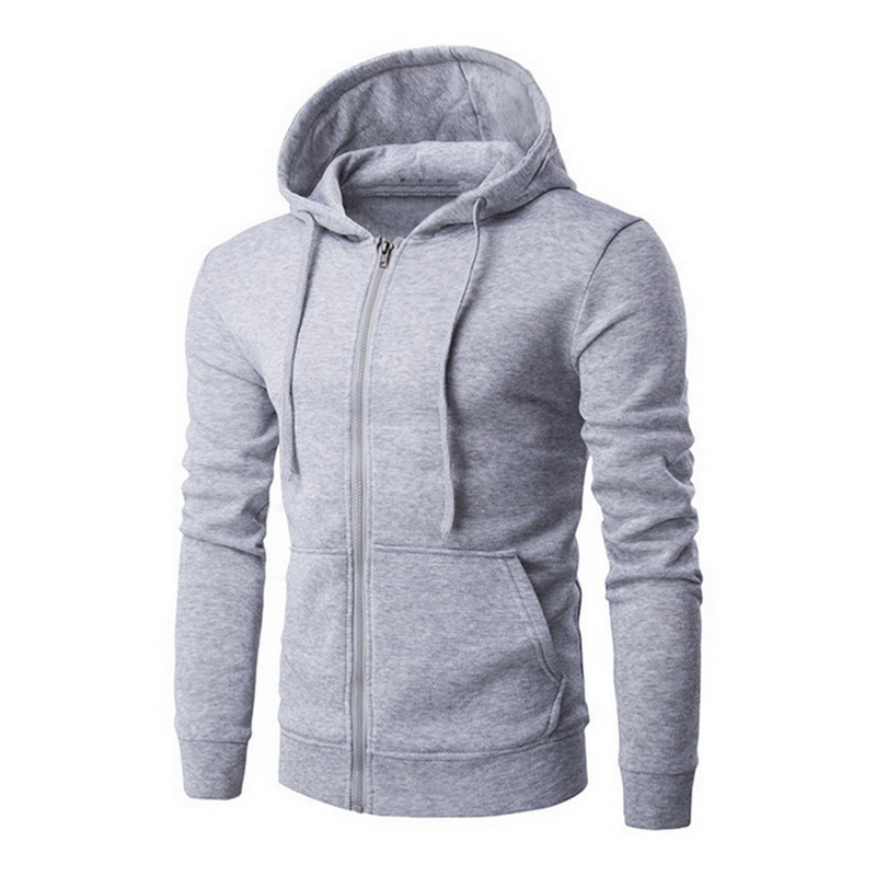 CYSINCOS Pocket Solid Hooded Cardigan For Men Zipper Autumn Black Hoodies Coat Men Casual Long Sleeve Sweatshirts Male Jackets