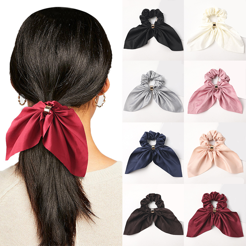 Solid Color Satin Bowknot Scrunchie Elastic Ponytail Metal Buckle Hair Ties Girls Rabbit Ears Hair Bands For Hair Accessories