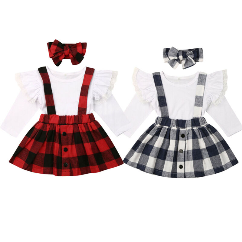 3PCS Toddler Baby Girls Clothes Fly Sleeve Lace Tops Plaid <font><b>Bib</b></font> <font><b>Skirt</b></font> Outfit image