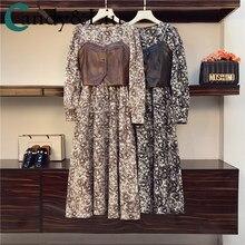Robe élégante en cuir et métal pour femmes, grande taille, amincissante, motif Floral, léopard, écharpe, gilet à chaîne, costume deux pièces, printemps