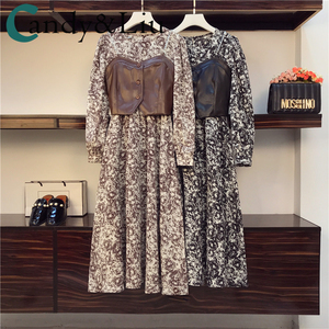Large Size Women Fat Spring Slimming Elegant Floral Leopard Dress Design Sense Sling Leather Metal Chain Vest Two-piece Suits
