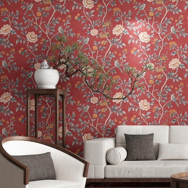 פרח טפט לסלון אדום פרחוני קיר נייר בציר Chinoiserie מיטת חדר קישוט