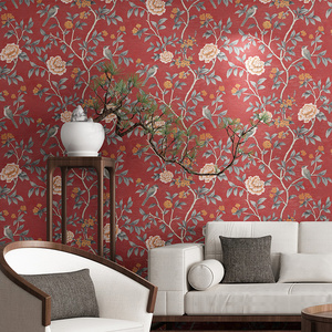 Image 1 - Flower Wallpaper For Living Room Red Floral Wall Paper Vintage Chinoiserie Bed room Decoration