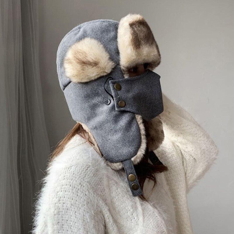 Women Thick Warm Bomber Hat Men Winter Hats With Mask Male Female Russian Hat Ski Earflap Trapper Russian Cap