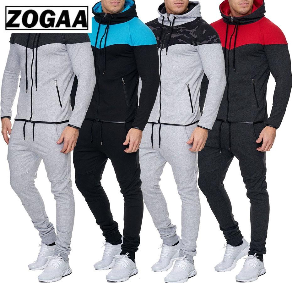 ZOGAA 2019 New Men 2 Parts Sporting Suit Hoodies Sets Mens Gyms Sportswear Jogger Suit Male Tracksuit Sets Gym Sweat Suit
