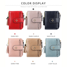 2019 New Fashion Trend Short Ladies Wallet Solid Color Zipper Multi-card Tassel Driver's License PU Women's Purse Bts bts 2018 new fashion bts 3d wallet kpop short zipper card wallet girl tassel purses mini cute bags customize bts accessories