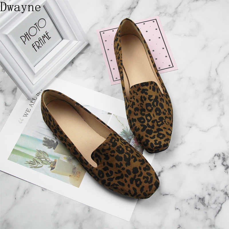 New retro square head leopard flat shoes large size women's shoes 40-44 comfortable wild trend flat shoes small size 33-35