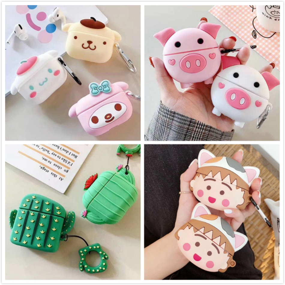 Earphone Case For Airpods Pro Case Silicone Cute Pig Cactus Bear Cartoon Headphone/Earpods Cover For Apple Air Pods Pro 3 Cases